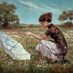 Kneeling in a Field of Flowers by Mark Spain -  sized 23x24 inches. Available from Whitewall Galleries